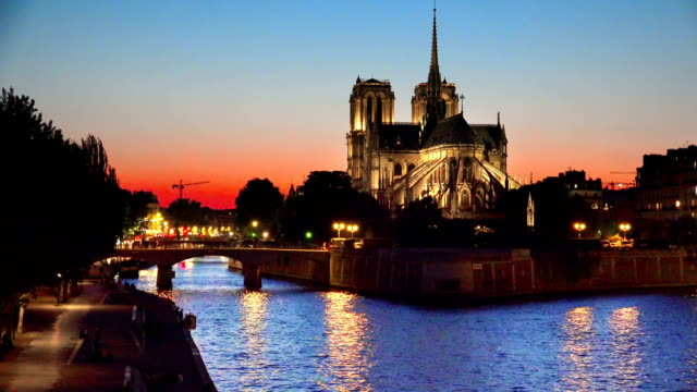cathedral of notre dame and riverside of seine river in paris at twilight sunset, france, background loop - gargoyle video stock e b–roll
