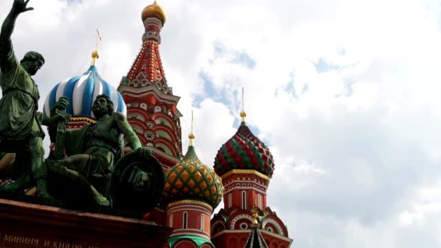 domkyrka av vasilij välsignade och monument att minin och pozharsky - kreml bildbanksvideor och videomaterial från bakom kulisserna
