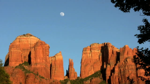 cathedral rocks moonrise - rock formations stock videos & royalty-free footage