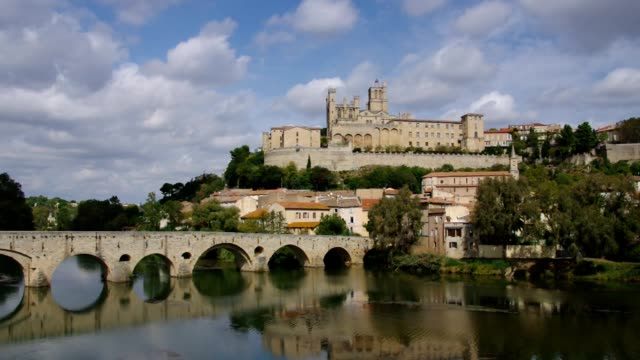 Cathedral Saint Nazaire and the River Orb in Beziers France video