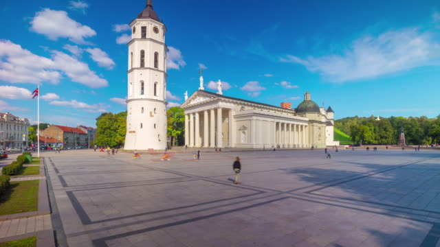 Cathedral Square in Vilnius, Lithuania, 4K panoramic time-lapse video