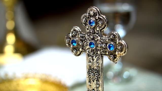 Catholic cross on altar in church
