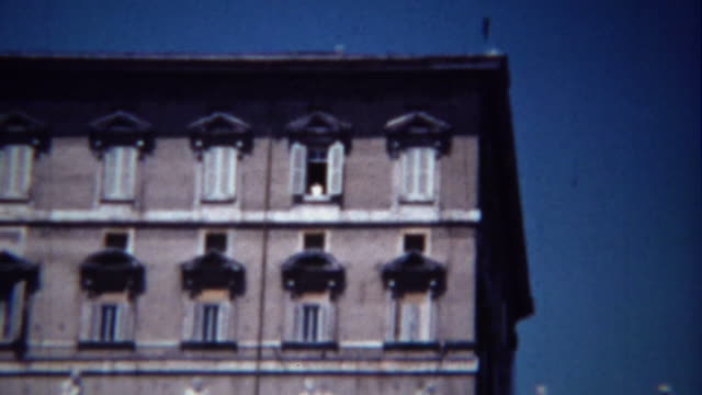 1954: Catholic Pope waving Vatican City building window house. video