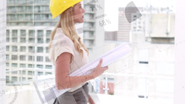 Caucasian architect holding building plans 4k