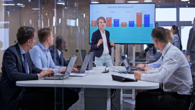 ekran cam toplantı odasında kullanarak sunu lider ds beyaz iş kadını - klip uzunluğu stok videoları ve detay görüntü çekimi