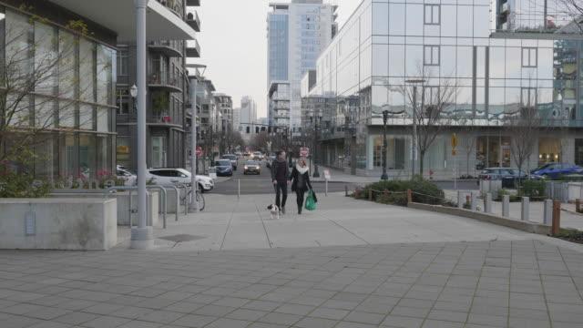 vídeos de stock e filmes b-roll de caucasian couple walking their dog in an urban environment - passagem de ano