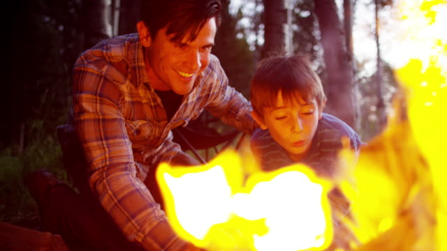 Caucasian father teaching son to make camping campfire happy Caucasian father son America camping campfire togetherness Summer holiday adventure nature woodland outdoors RED DRAGON bonfire stock videos & royalty-free footage