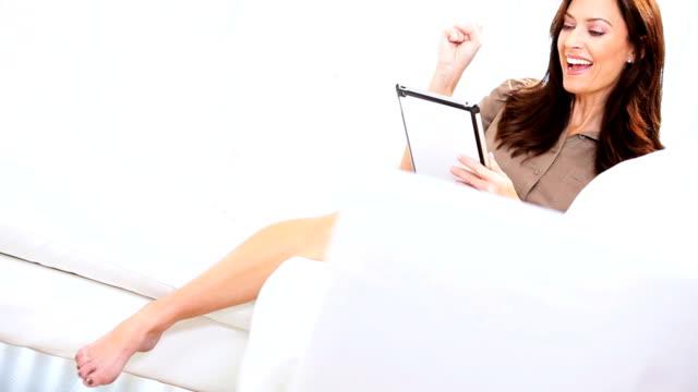 Caucasian Female Tablet Online Auction video
