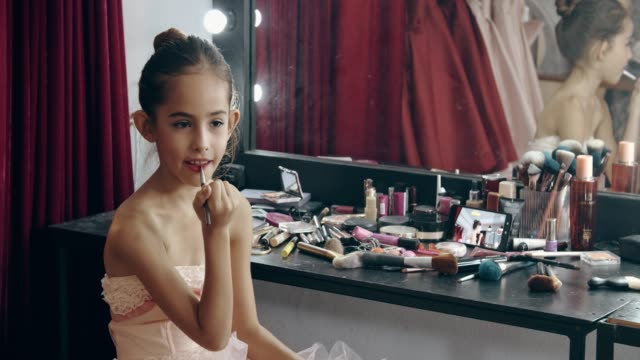 Caucasian girl(10-11 years) bloggers review cosmetic products via social media