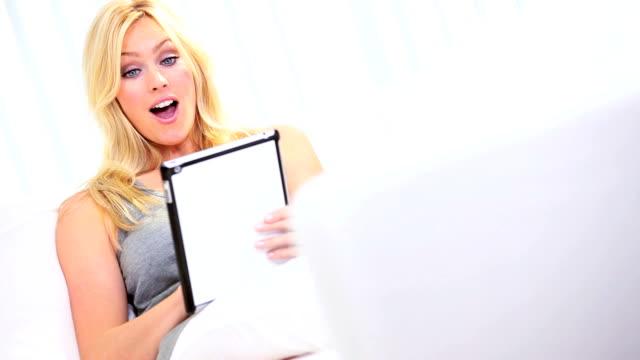 Caucasian Girl Tablet Online Auction video