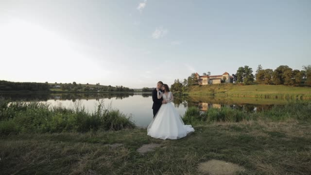 caucasian groom with bride in the park near lake. wedding couple. newlyweds kiss - figura femminile video stock e b–roll