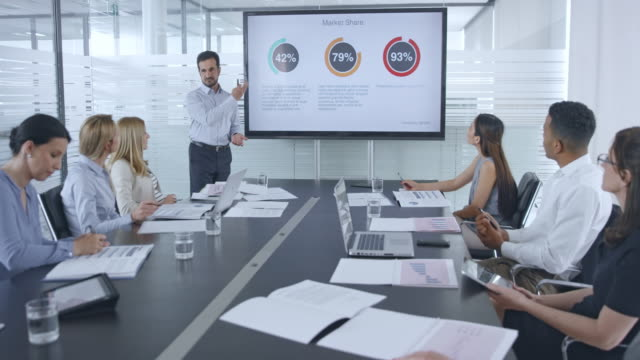 caucasian man giving a financial presentation to his colleagues in the team sitting in the conference room - деловая встреча стоковые видео и кадры b-roll
