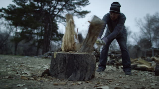 a caucasian man in his forties with a knit hat and safety glasses chops a wooden log in half for firewood with an axe surrounded by trees outside at dusk on a cloudy day - separacja filmów i materiałów b-roll