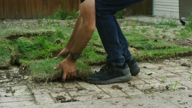 vídeos y material grabado en eventos de stock de un hombre caucásico usando jeans y zapatos atléticos negros recoge una plaza de césped acostado en un pavimento de ladrillo sucio en un patio residencial - ajardinado