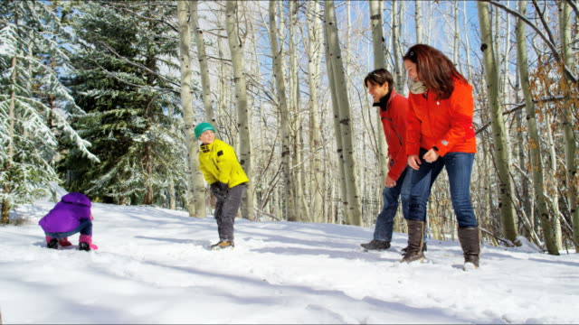 caucasian parents children winter vacation wearing skiing clothing - sci attrezzatura sportiva video stock e b–roll