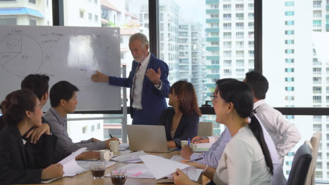 Caucasian senior manager coaching and presenting report on whiteboard for asian businesspeople while meeting in modern workplace, pan shot