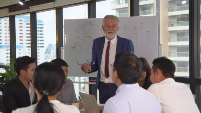 Caucasian senior manager coaching and presenting report on whiteboard for asian businesspeople in modern workplace, pan shot