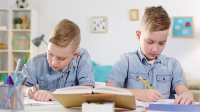 caucasian twin brothers studying at home - gemelle video stock e b–roll