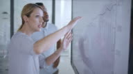 istock Caucasian woman discussing a financial graph on the screen in meeting room with her African-American colleague 694600920