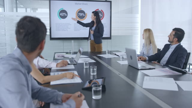 caucasian woman giving a financial presentation to her colleagues in the conference room - collega d'ufficio video stock e b–roll