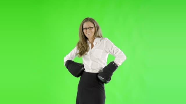 caucasian woman greenscreen cut out business boxer video