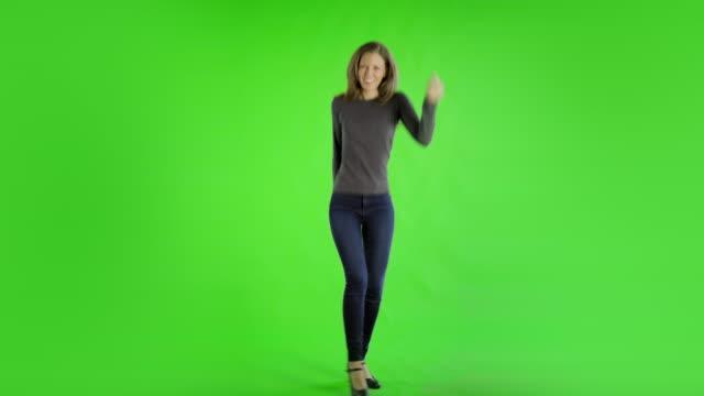 Video caucasian woman greenscreen cut out casual