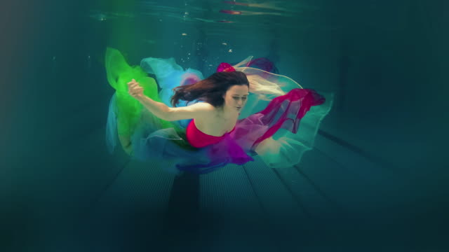 Caucasian woman in dress swimming under water Slow motion of woman swimming under water. Source Sony RAW 12bit. floating on water stock videos & royalty-free footage