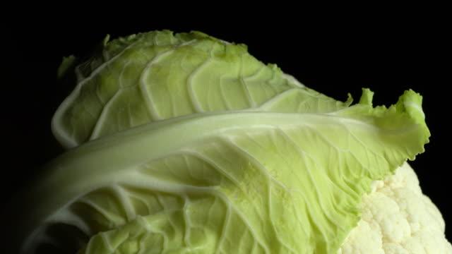 cauliflower haed dramatic rotation in great detail - crucifere brassicali video stock e b–roll