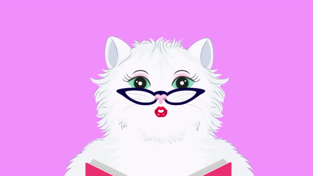 Caut cartoon cat reading book. Animation on pink background.
