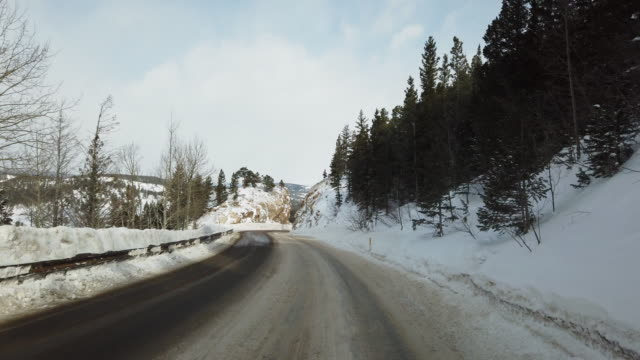 Cautious Travel in Colorado Mountains on Snowy Winter Road Near Boulder Colorado Mobile Travel Video