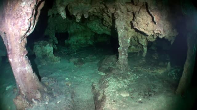 Hol in ondergronds water van onderwater Yucatan Mexico cenotes. video