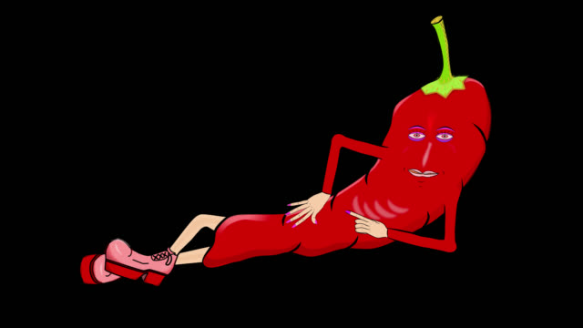 Cayenne Pepper-Reclines-Transparent/Alpha Cartoon: Animated Cayenne Pepper silently introduces herself while reclining. Transparent background/Alpha channel. For shows about food, cooking, vegetables, nutrition, and health. chili pepper stock videos & royalty-free footage
