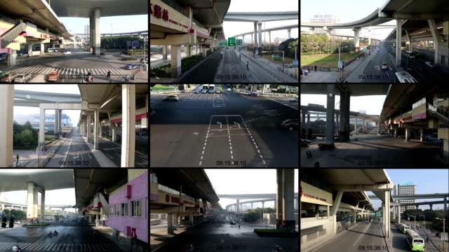 cctv split screen der street - überwachungskamera stock-videos und b-roll-filmmaterial