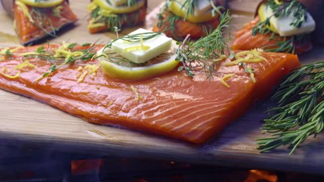 vídeos y material grabado en eventos de stock de salmón de tablón de cedro con limón y hierbas - tablón