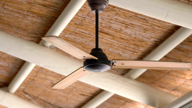 Ceiling Fan Turning Slowly in 4k slow motion 60fps