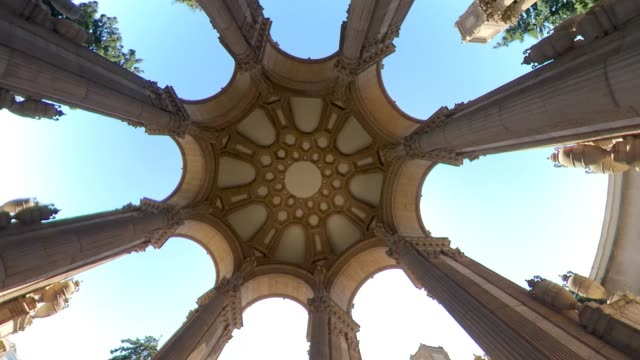 Ceiling of Palace of Fine Arts is a monumental structure, San Francisco, USA San Francisco, California, USA - August 2019: Ceiling art of The Palace of Fine Arts, a monumental structure constructed for the 1915 Panama-Pacific Exposition palace stock videos & royalty-free footage