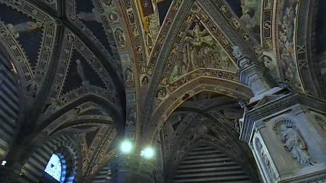 Ceiling of the baptistery of Siena in 4k December 2018. Ceiling of the baptistery. We are inside one of the most visited monuments in the city. December 2018 in Siena renaissance architecture stock videos & royalty-free footage