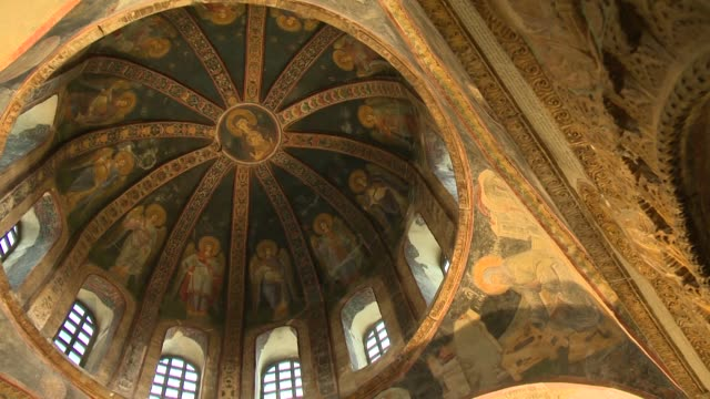 ceiling view of hagia sophia in istanbul - soffitto video stock e b–roll