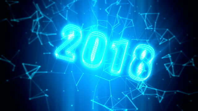 Celebrate 2018 new year of technology loopable background video