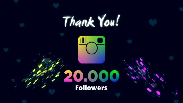 celebrare 20.000 follower - icona dei social network video stock e b–roll