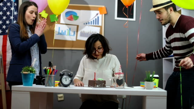 Celebrating birthday at the office video