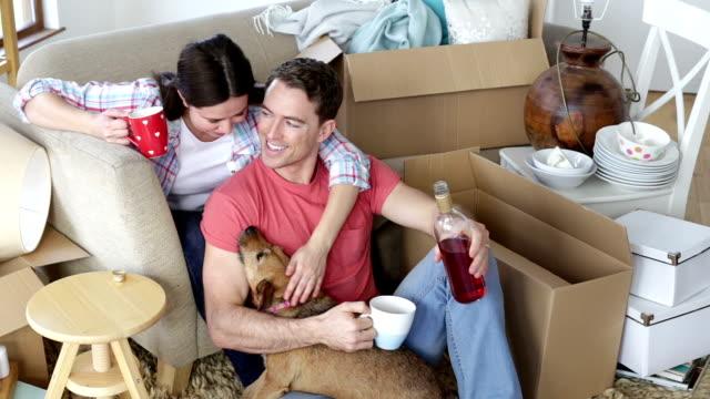 celebrating their new home - wine box bildbanksvideor och videomaterial från bakom kulisserna