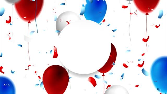 vídeos y material grabado en eventos de stock de fondo de movimiento de celebración con confeti y globos - día del trabajo