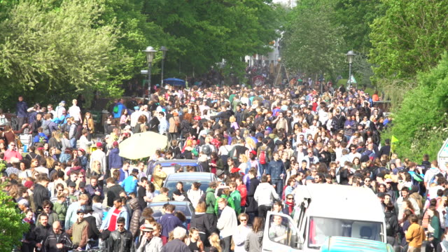 Celebrationwith many people in Germany, time lapse