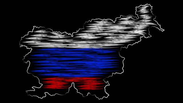 celje slovenya harita ve bayrak boyama. hareket tasarımı. - styria stok videoları ve detay görüntü çekimi