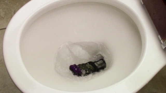 stockvideo's en b-roll-footage met cell phone accidentally dropped into a toilet bowl. according to a study by online address-book site plaxo, 1 out of five people dropped their smartphones into the toilet bowl. - cell phone toilet