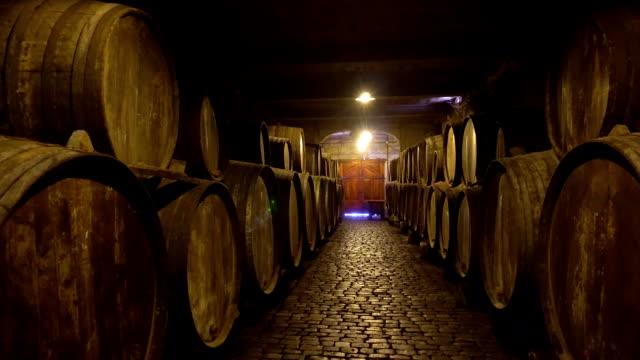vídeos de stock e filmes b-roll de cellar with wine barrels - engradado