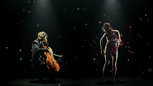 cellist and dancer with petals dance part 2 of 3 video