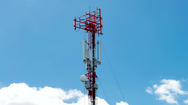 Cellular phone tower with clouds Timelapse video