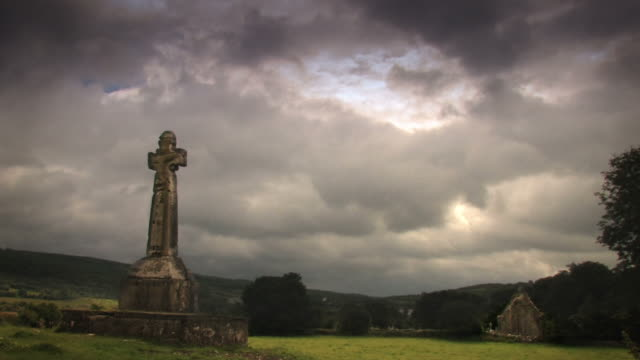 Celtic Cross with timelapse clouds video
